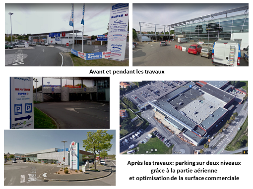 Photos du Super U de Vertou avant et après la construction du parking aérien